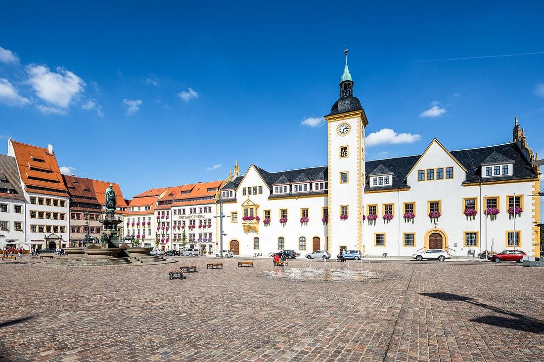 18 - Bilder Freiberger Obermarkt, Montane Kulturlandschaft Erzgebirge, UNESCO Weltkulturerbe, Montanregion, Bilder Bergbau, Fotos Architektur